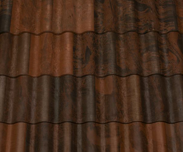 Bob Jahn's Offering Residential Roofing Material: Brava Composite - Spanish Barrel Vault Tile in Black-Brown Blend